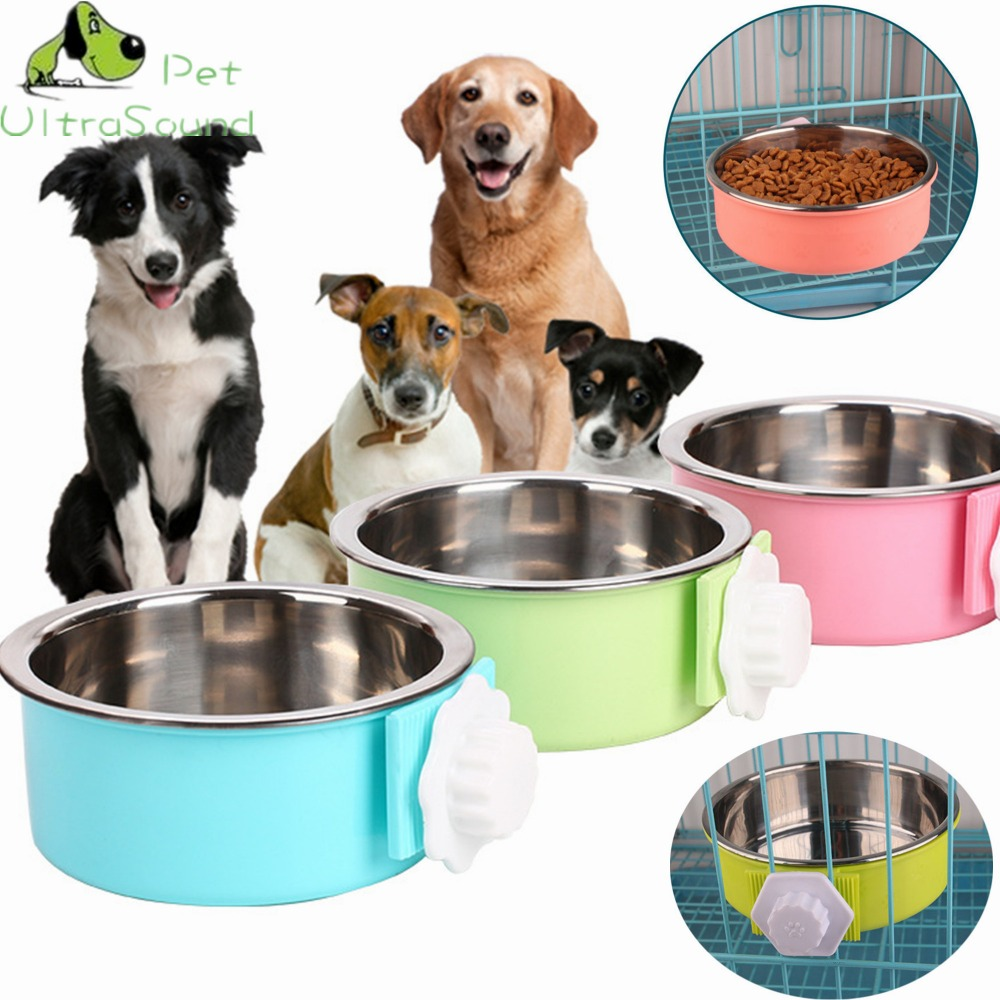 ULTRASOUND PET Dual Use Dog Bowl Pet Cat Cage Hanging Double Bowls For Puppy Cat Automatic Water Drinking /Food Feeding Dish