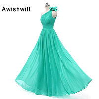 Elegant Long Dress For Wedding Party for Women 2020 Chiffon Plus Size One Shoulder A Line Turquoise Bridesmaid Dress