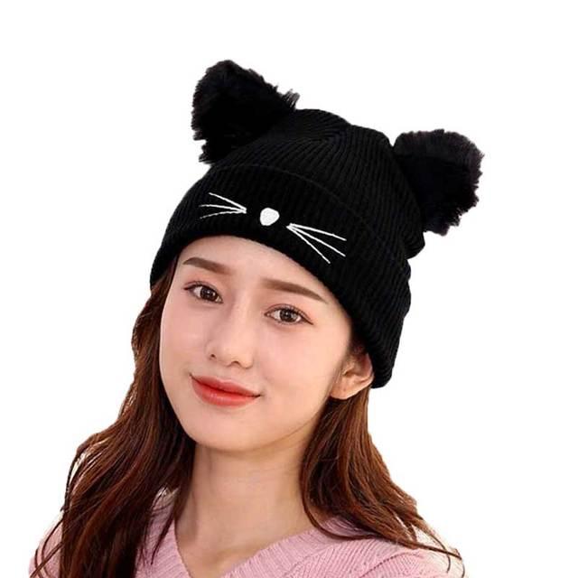 Fashion Woman Cat Ear Hat Black Knitted Skullies Beanies Female Beard  Pattern Autumn Winter Warm Hats Ladies Skullcap 6f0f957b48df
