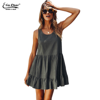 New Arrival Summer Casual Sleeveless Solid Women A Line Dress Elegant Simple O Neck Ruffles Striped