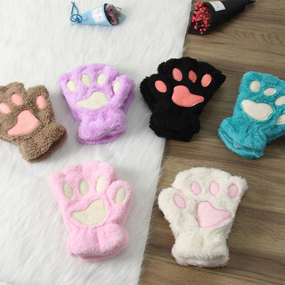 1pair women girls lovely winter warm fingerless gloves. Black Bedroom Furniture Sets. Home Design Ideas