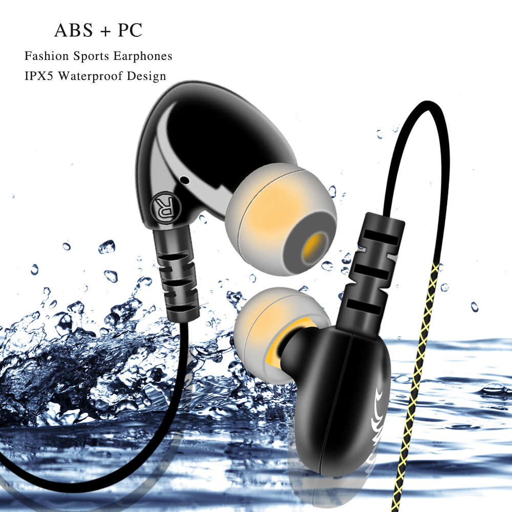 F1 Waterproof Sport Earphone Headset Headphones Wired With Microphone & Song Switch/Pause/Play & Handsfree Calls For Smartphone