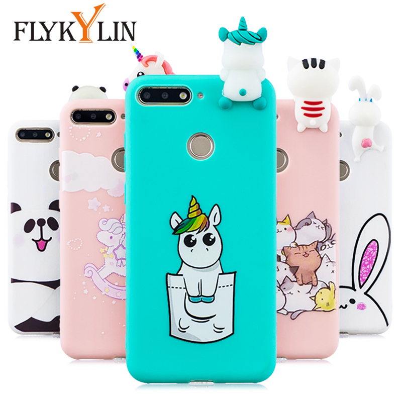 FLYKYLIN <font><b>Silicone</b></font> <font><b>Case</b></font> For Huawei Y6 Prime 2018 Back Cover on <font><b>Honor</b></font> <font><b>7A</b></font> Pro Phone Coque Cute Unicorn Cat 3D Doll Toys Shell Skin image