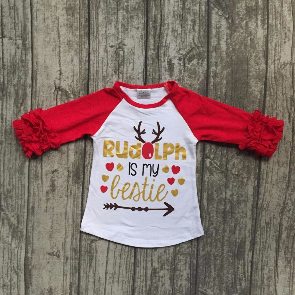 baby girls Christmas raglans girls rudolph is my bestie raglans children Fall clothing top shirts t-shirt red sleeve kids wear my christmas cd