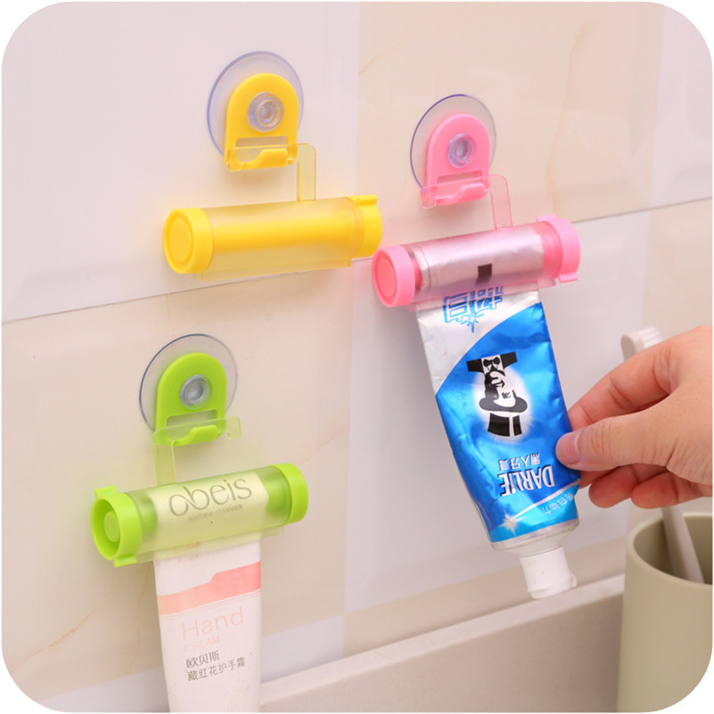 Rolling Toothpaste Squeeze Press Bathroom Tube With Strong Suction Cup Storage Hook Organizer Holder Tool Random ColorRolling Toothpaste Squeeze Press Bathroom Tube With Strong Suction Cup Storage Hook Organizer Holder Tool Random Color