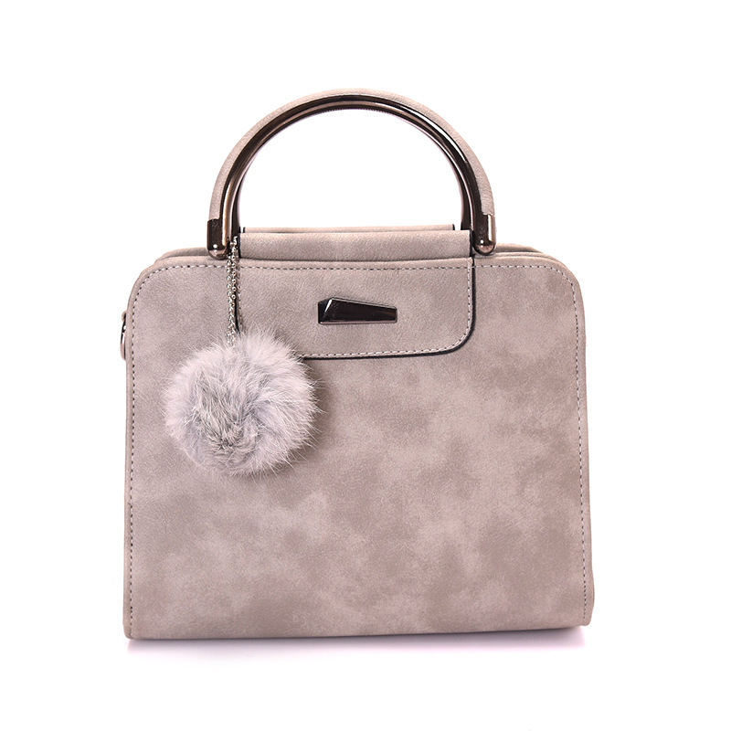 vintage handbag women casual tote bag female large shoulder messenger bags high quality PU leather handbag with fur ball bolsa