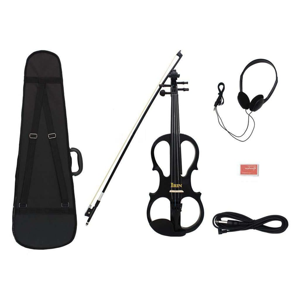IRIN 4/4 Wood Maple Electric Violin Fiddle with Ebony Fittings Cable Headphone Case Black