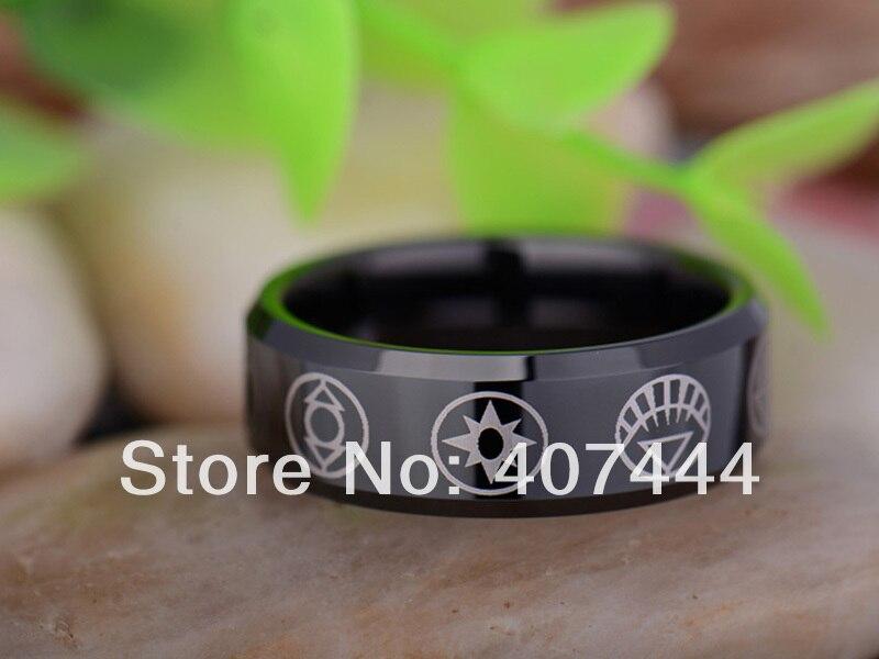 free shipping ygk jewelry hot sales 8mm black green lantern darkest night mens tungsten carbide wedding - Green Lantern Wedding Ring