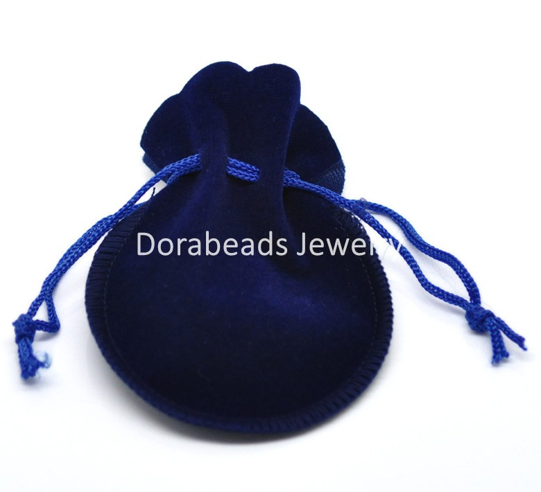 Doreen Box hot- 20PCs Dark Blue Velvet Drawstring Pouches Jewelry Gift Bag with String 9x7.5cm(3-1/2