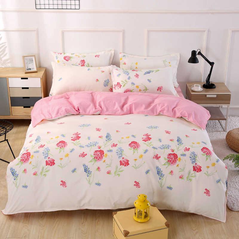 Floral Pattern Pink Duvet Cover 3/4 pcs Bedding Set Student Sot Cotton Bed Linen Single Twin Quen King Size Quilt Comforter Case