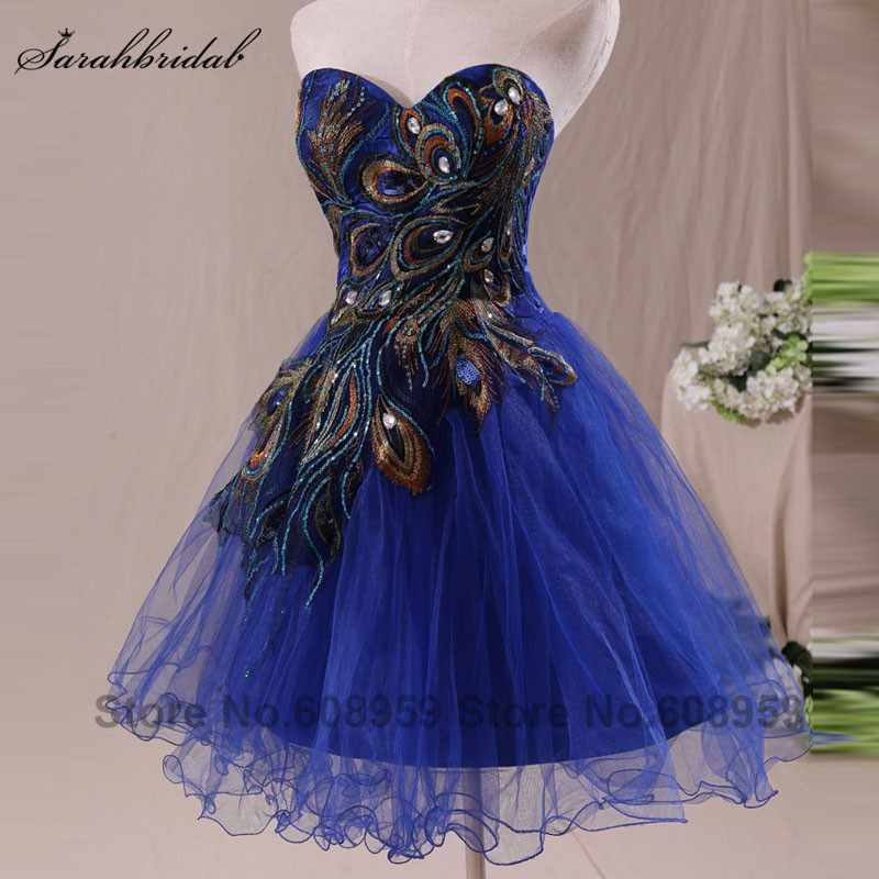 På lager Broderi Royal Blue Short Cocktail Kjoler Sweetheart Crystal Party Gown Real Picture Vestido De Festa SD039