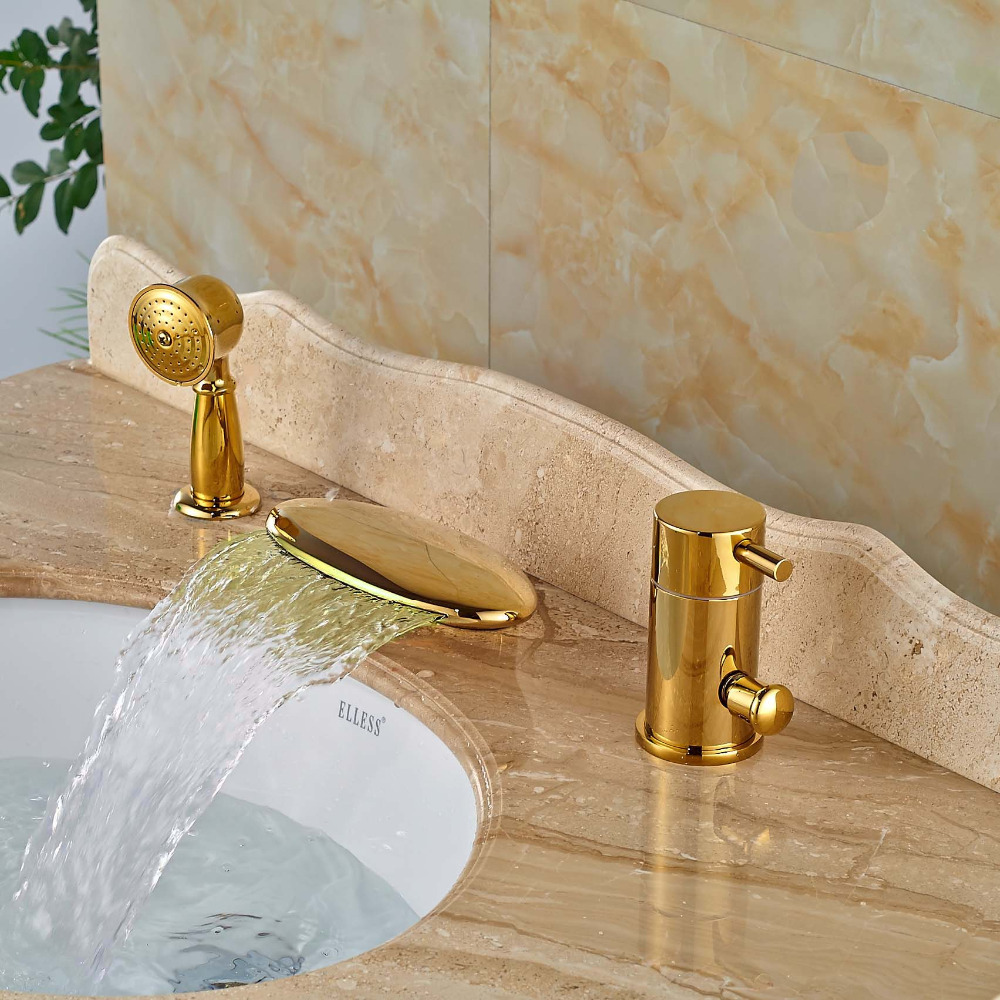 Deck Mounted Gold Finish LED Three Holes Waterfall Bathtub Faucet with Hand Shower