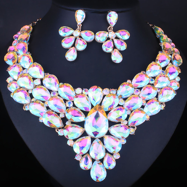 Farlena Jewelry High Quality Water Drop Shape Crystal Statement Necklace Set For Women Indian Bridal