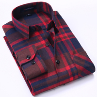 2017 Spring Men S Plaid Checked Brushed Flannel Shirt Classic Turn Down Collar Comfort Soft Casual