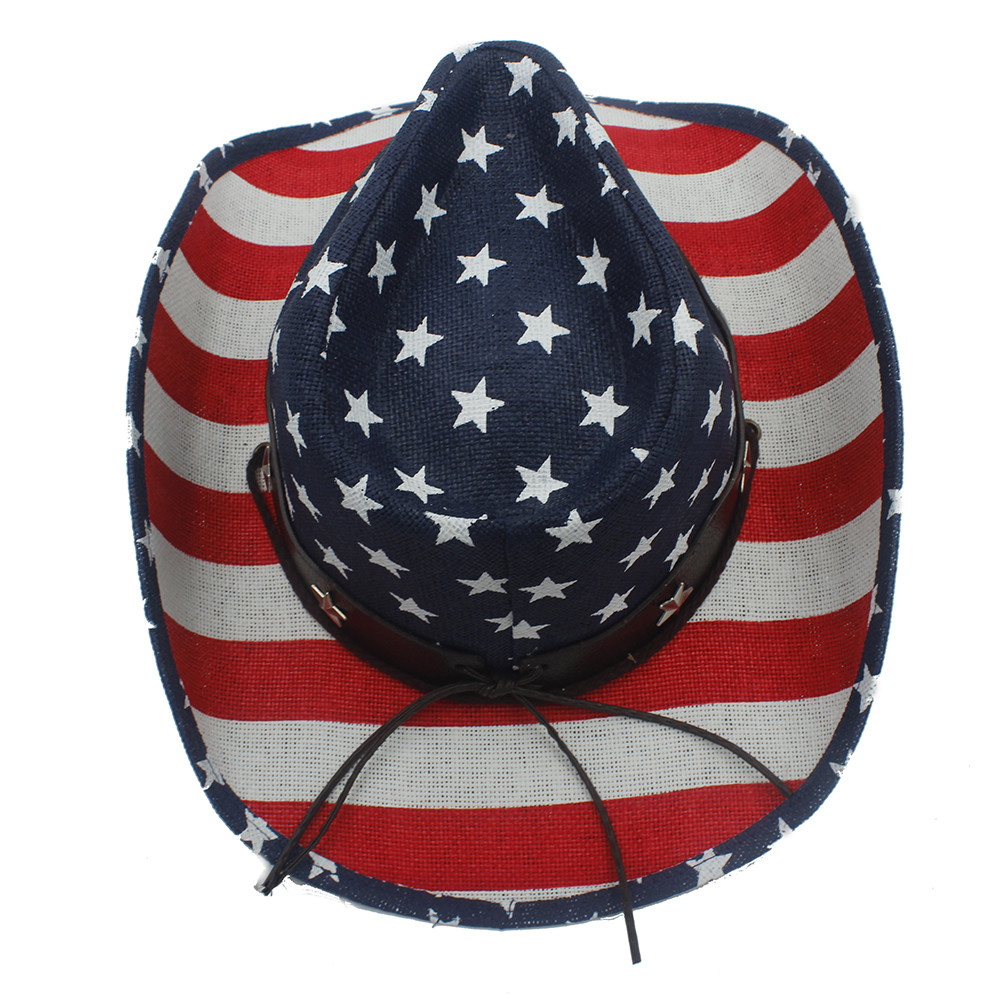 Musim panas Topi Koboi Barat Untuk Ayah Sombrero Jerami Wanita Pria  Berongga Jazz Cap Dengan Bendera Amerika di Topi Koboi dari Aksesoris  Pakaian ... 39d20fa9c7