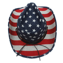Summer Straw Women Men Hollow Western Cowboy Hat For Dad Sombrero Jazz Cap With American Flag
