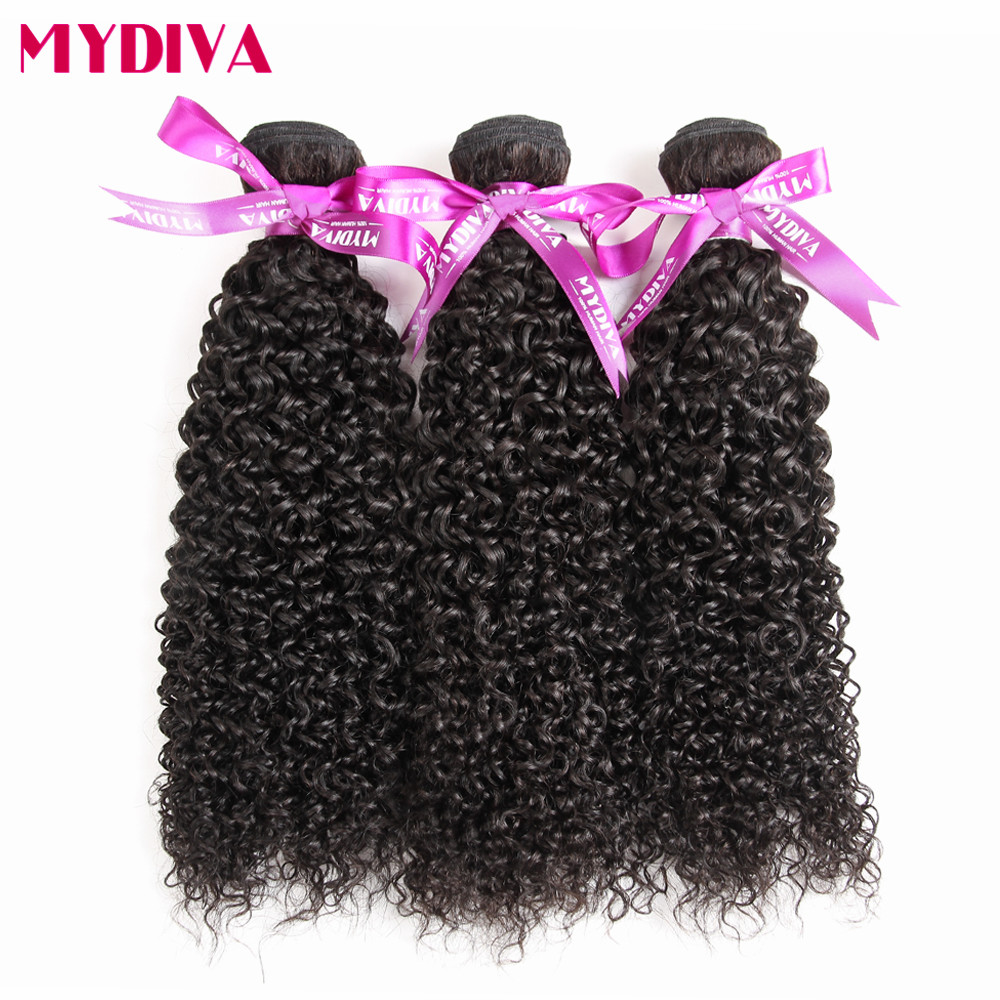 Mydiva Brazilian Hair Weave Bundles Curly Weave Human Hair Extensions 8 To 28 Inch Natural Color Non Remy Hair