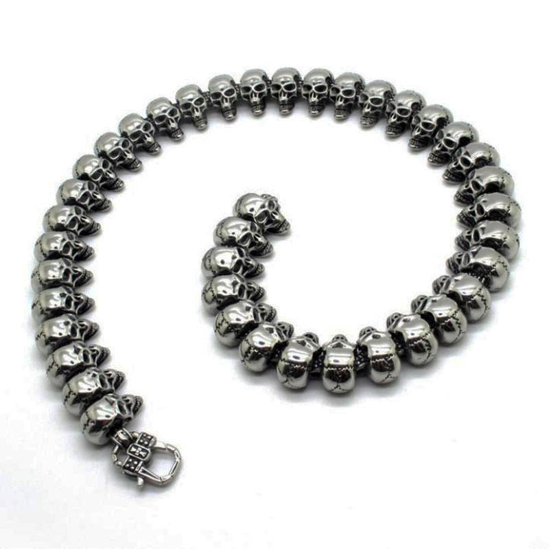 38g 100% Solid Sterling Silver 925 Skull Toggle Bracelet Men Fashion Thick Mens Bracelet Antique Thai Silver Male Jewelry - 2
