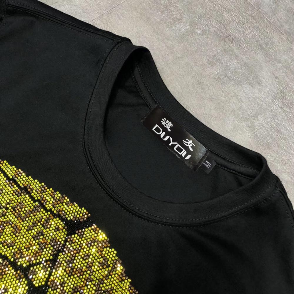 Men's Slim Fit Crystal Big Skull Printed T-shirt Crew Neck Gold&Silver Tshirt Tee Top Men Designer T shirt New Brand Clothing