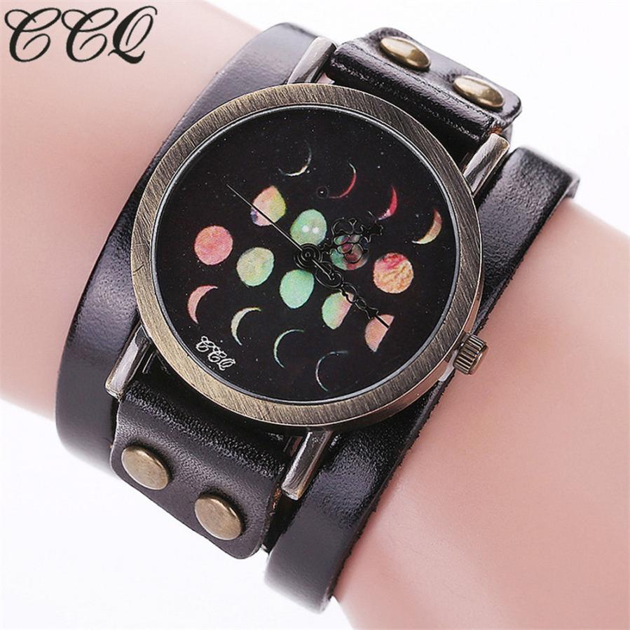 Ccq Moon Eclipse Pattern Vintage Watch Wmen Man Casual Fashion Dress Ladies Unisex Analog Quartz Watches Leather Bracelet Watch