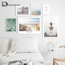 Coastal Landscape Canvas Poster Nordic Style Beach Girl Wall Art Print Painting Decoration Picture Scandinavian Home Decor