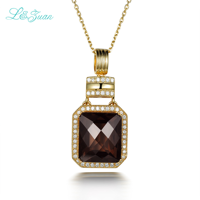 l&zuan S925 sterling silver Natural 9.87ct Smoky Crystal Rectangular  Fashion&Romantic  Pendant For Woman Gift with silver chain