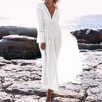 Boho Deep V Neck Hollow Out Long Dress Women Plus Size Summer Beach Tunic White Cotton
