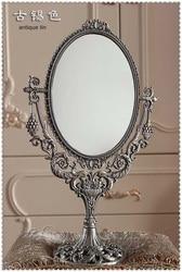 H15.5 винтажный Ретро овальный вращающийся на 360 градусов двойной настольный стол для макияжа, комод для макияжа, зеркальный рельефный набор ...
