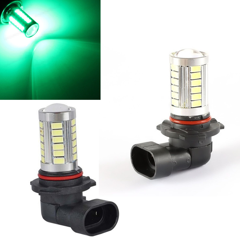 CYAN SOIL BAY 2X 9006 HB4 5630 33 SMD LED Green Fog Light Driving Tail Lamp Daytime Running Bulb new arrival a pair 10w pure white 5630 3 smd led eagle eye lamp car back up daytime running fog light bulb 120lumen 18mm dc12v