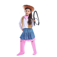 Girls Western Cowboy Costume Halloween Costume for Children Kids Birthday Holiday Party Cowgirl Cosplay Fancy Dress Up Outfits