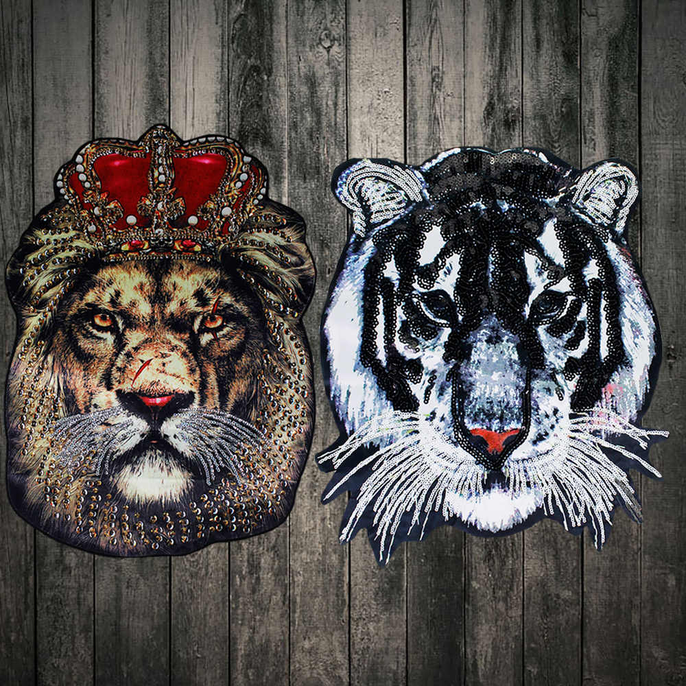 Detail Feedback Questions about Oversized fashion beads embroidered sequins  patch decals for clothing accessories tiger head lion applique Sew on DIY  ... 494dab1bd0ee