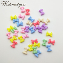 WISHMETYOU 50PCS 15.5MM Candy Color Butterfly Knot Acrylic Hole Loose Beads DIY Accessories For Jewelry Making Finding New