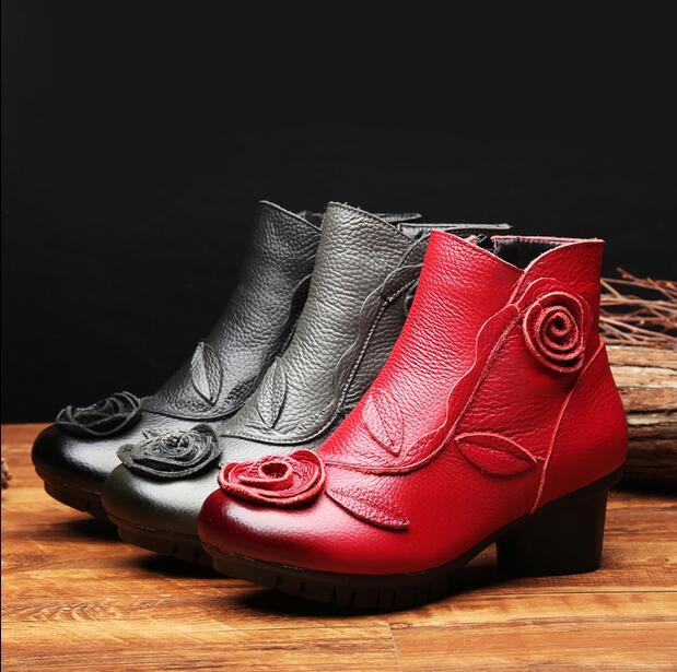 Cotton grey Schuhe Black Chaussure Plus 2018 Single Rushiman red Boot Echtem Leder Frühling Damen grey Stiefel Neuen Cotton Flache Boot Winter Boots black Cotton Martin Stil Mujer red Casual Frauen OagqH
