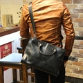 Hot men crazy horse PU leather handbag crossbody bag black brown handmade luxury business male bag 13inch laptop