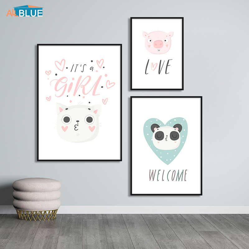 Cute Cartoon Animal Poster Canvas Prints Panda Pig Nordic Style Kids Room Wall Pictures For Baby Girl Bedroom Home Decor