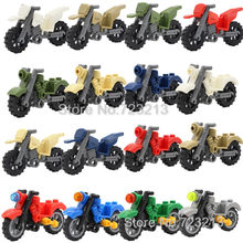 16pcs/lot Moto SET Vehicles Motorcycle Accessories MOC Motor SWAT Military Parts City Technic Building Blocks Model Toys(China)