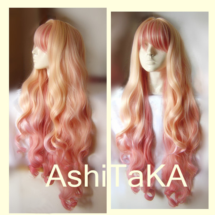 Macross F Sheryl Nome Long Wavy Light Blonde Pink Dream Ombre Heat Resistant Cosplay Costume Wig