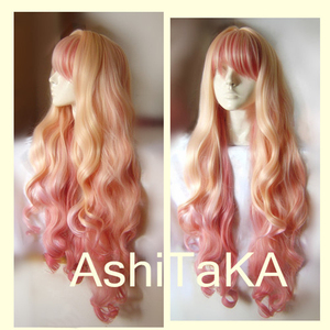 Macross F Sheryl Nome Long Wavy Light Blonde Pink Dream Ombre Heat Resistant Cosplay Costume Wig + Track + Cap(China)