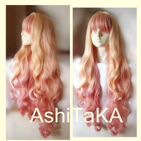 Macross F Sheryl Nome Long Wavy Light Blonde Pink Dream Ombre Heat Resistant Cosplay Costume Wig + Track + Cap