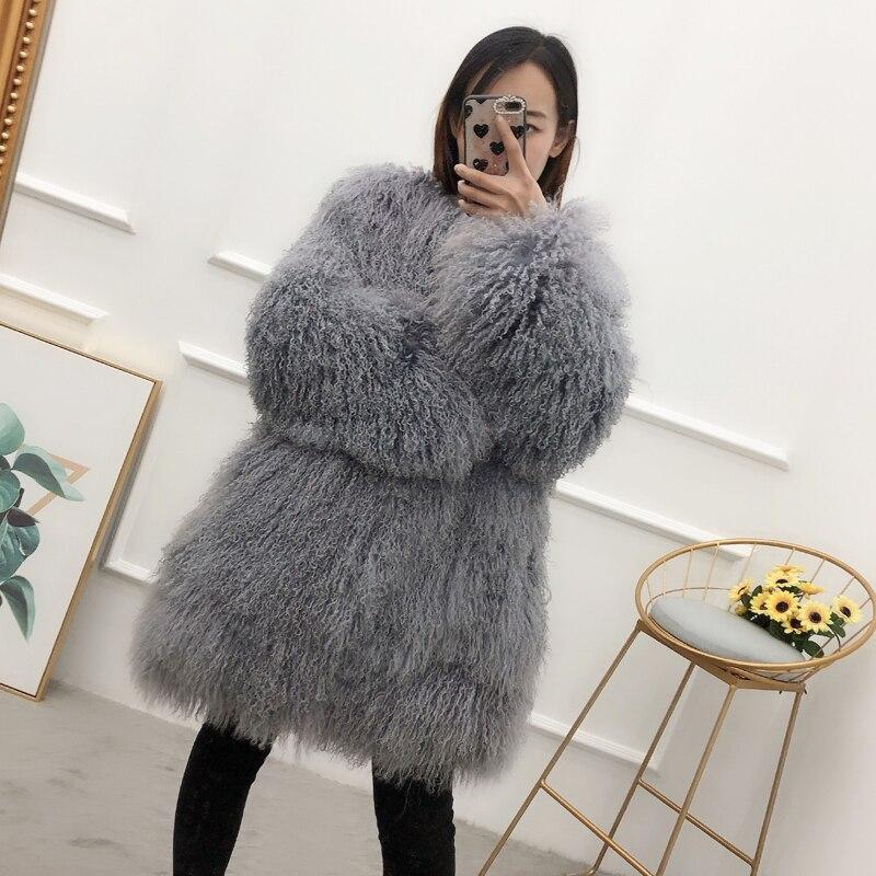 Women real mongolian sheep fur coat Natural Long section beach wool fur jacket winter outwear lady