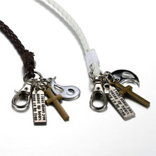 High Quality Lovers Multilayer Leather Bracelet Bangle Jewelry Alloy Cross Bracelets For Women / Men