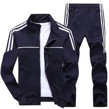 New Men's Set Spring Autumn Man Sportswear 2 Piece Sets Sports Suit Jacket+Pant