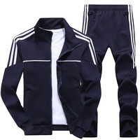 New Men's Set Spring Autumn Man Sportswear 2 Piece Sets Sports Suit Jacket+Pant Sweatsuit Male Tracksuit Asia Size L 4XL
