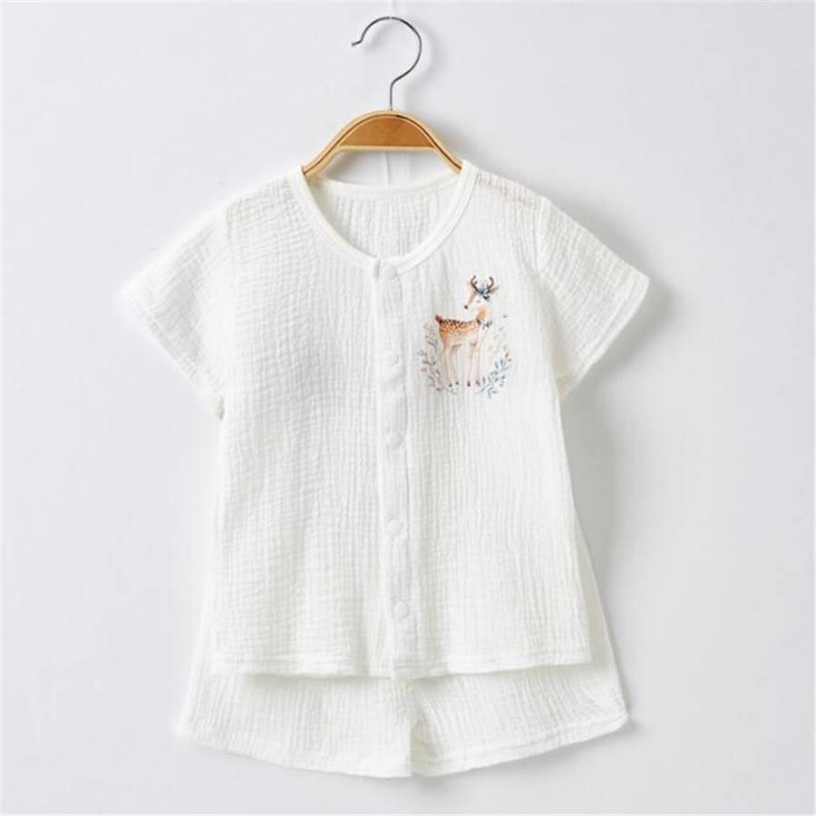 Summer Baby Clothes Shirt+shorts 2 Pcs Suits Baby Breathable Soft Cotton Crepe Sets Solid Colors Muslin Cotton Baby's Clothing
