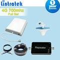 Jogo terminado 4 G LTE 700 MHz móvel celular Signal Booster controle automático de ganho 65dB celular repetidor amplificador com 4 G antena