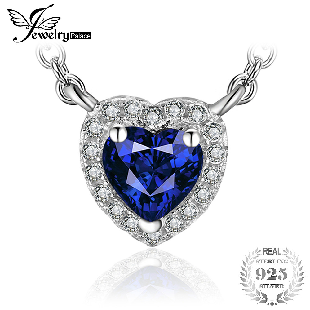 JewelryPalace Heart Of The Ocean 0.6ct Created Blue Sapphire 925 Sterling Silver Solitaire Pendant Necklace 18 Inches for Women цена