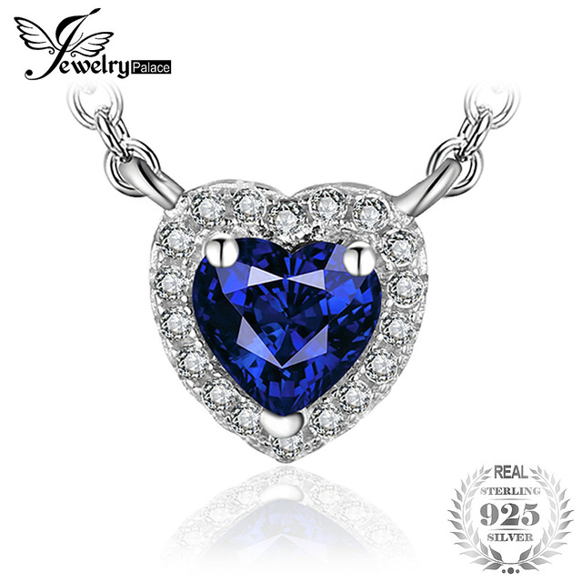 JewelryPalace Heart Of The Ocean 0.6ct Created Blue Sapphire 925 Sterling Silver
