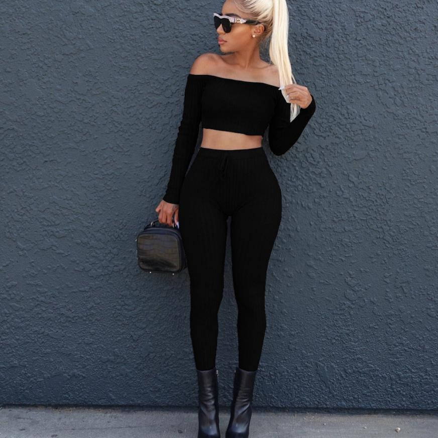 Slash neck 2 Piece Clothing Set Women Long sleeve Crop Top And Pants Suit ladies Sexy Leisure Two Piece Bodycon Tracksuit EY11