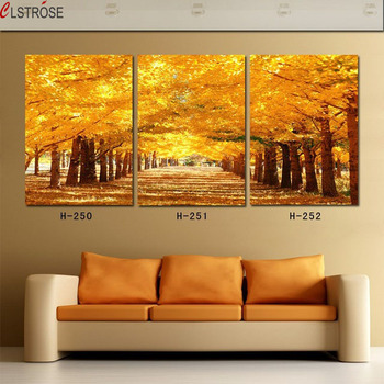 CLSTROSE Beautiful Fall Season Golden Tree Landscape Contemporary Wall Pictures Canvas Painting Gift For Living Room Unframed