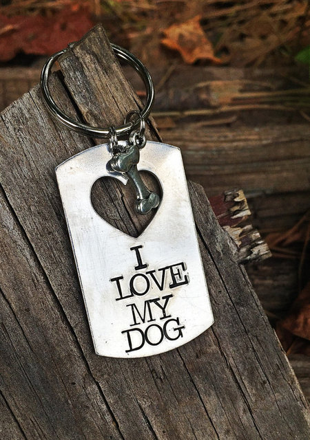 Senfai Hot Sale Famous Brand Keychain Dog Lover Handstamped Keychain - Dog Bone&Dog Tag Custom NAME Keychain Best Gift For Her